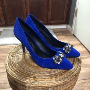 Sole Society Blue Suede Heels - Size 8